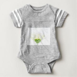 単純化した白い《植物》百日草 ベビーボディスーツ