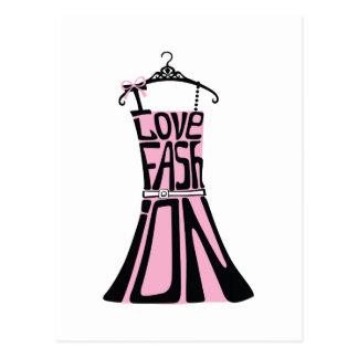 """単語からの女性の服""""私は愛しますファッション""""を ポストカード"""