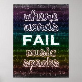 単語が失敗する一方、音楽はポスターを話します ポスター