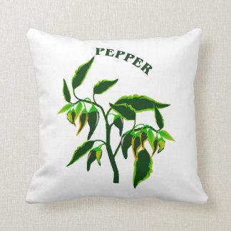 単語のコショウが付いているコショウの緑植物のグラフィック クッション