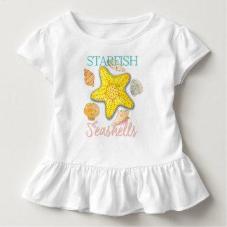単語のヒトデおよび貝殻パターン トドラーTシャツ