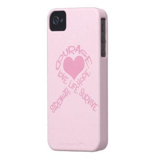 単語の乳癌のiphone 4ケースのピンクのリボン Case-Mate iPhone 4 ケース