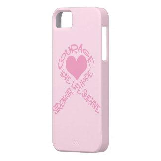 単語の乳癌のiPhone 5の場合のピンクのリボン iPhone SE/5/5s ケース