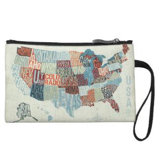 単語の州が付いている米国の地図 クラッチ