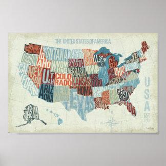 単語の州が付いている米国の地図 ポスター
