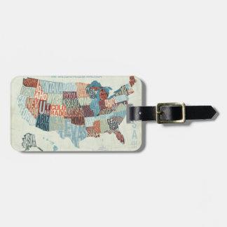単語の州が付いている米国の地図 ラゲッジタグ