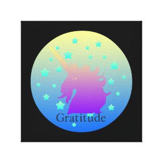 単語の感謝のグラデーションなユニコーン キャンバスプリント