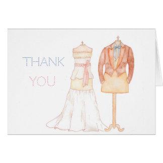 単語の水彩画の結婚式のノートありがとう カード
