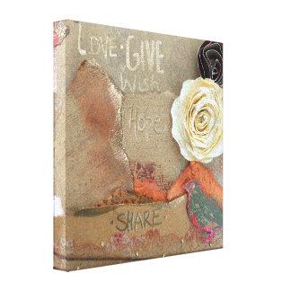 単語愛の混合メディアの芸術は、与えましたり、望みましたり、共有します キャンバスプリント