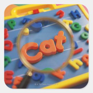 単語CATの拡大鏡の拡大の概観 スクエアシール