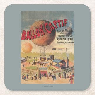 博覧会ポスターの捕虜気球の乗車 スクエアペーパーコースター
