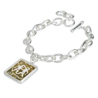 占星術のジェミニ金ゴールドのグリッターの白いチャーム ブレス