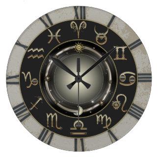 (占星術の)十二宮図のシンボルや象徴 ラージ壁時計