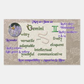 (占星術の)十二宮図のジェミニステッカー 長方形シール