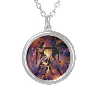 (占星術の)十二宮図のジェミニネックレス シルバープレートネックレス