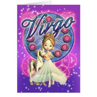 (占星術の)十二宮図のメッセージカードの《星座》乙女座、かわいい女性およびユニコーン カード