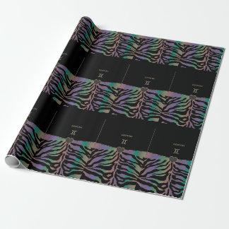 (占星術の)十二宮図の印のジェミニ虹のシマウマのデザイン ラッピングペーパー