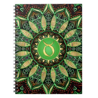 (占星術の)十二宮図の印のトーラスの曼荼羅の~の緑金ゴールド ノートブック