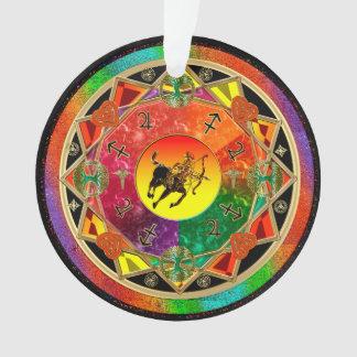(占星術の)十二宮図の印の射手座の曼荼羅 オーナメント