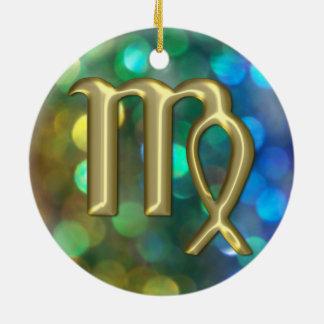 (占星術の)十二宮図の印の《星座》乙女座の金ゴールドの虹のグリッターのオーナメント 陶器製丸型オーナメント