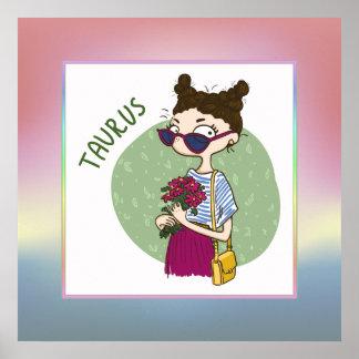 (占星術の)十二宮図の印-トーラス- 20 4月5月20日 ポスター