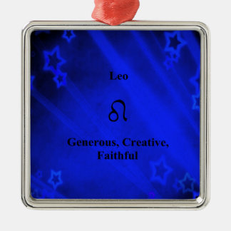 (占星術の)十二宮図の印: レオ シルバーカラー正方形オーナメント
