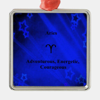 (占星術の)十二宮図の印: 牡羊座 シルバーカラー正方形オーナメント