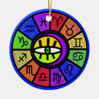 (占星術の)十二宮図の目 陶器製丸型オーナメント