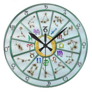 (占星術の)十二宮図の車輪の時計+ギフト ラージ壁時計