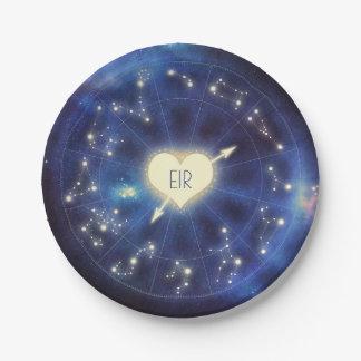 (占星術の)十二宮図は|の星座の星明かりの夜結婚式に署名します ペーパープレート