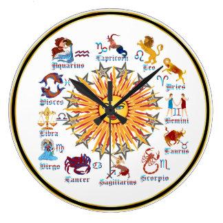 (占星術の)十二宮図6色 ラージ壁時計