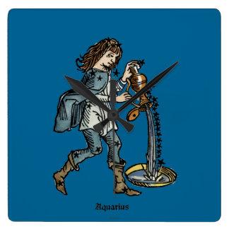 (占星術の)十二宮図: アクエリアス1482年 スクエア壁時計