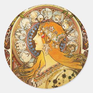 (占星術の)十二宮図-アルフォンス島のミュシャ 丸形シール・ステッカー