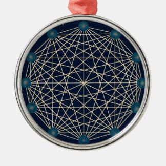 (占星術の)十二宮図 シルバーカラー丸型オーナメント