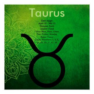 占星術の(占星術の)十二宮図の占星術の印のトーラスポスター ポスター