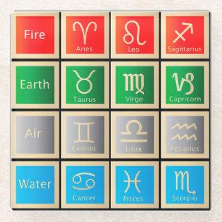 占星術は図表、火、地球、空気および水に署名します ガラスコースター