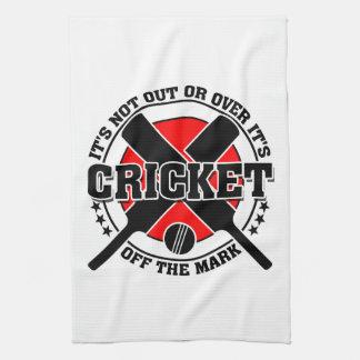 印のコオロギを離れたクリケット選手 キッチンタオル