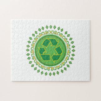 印をリサイクルする緑の円形浮彫り ジグソーパズル