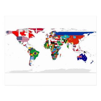 印を付けられた世界-世界の旗の地図 ポストカード