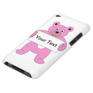 印を持つピンクの漫画くま(あなた自身の文字を加えて下さい) Case-Mate iPod TOUCH ケース