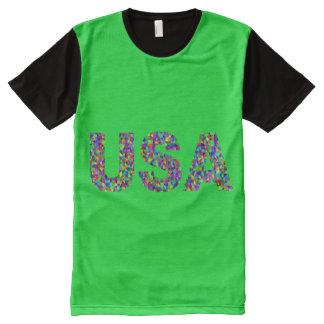 印刷されたパネルのTシャツをくまなく素晴らしい人 オールオーバープリントT シャツ