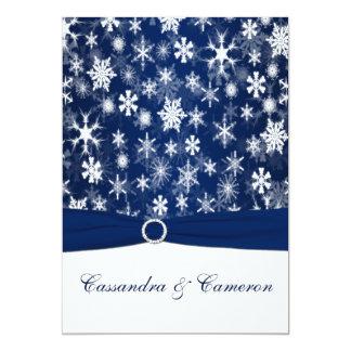 印刷されたリボンの濃紺、白い雪片の結婚 カード