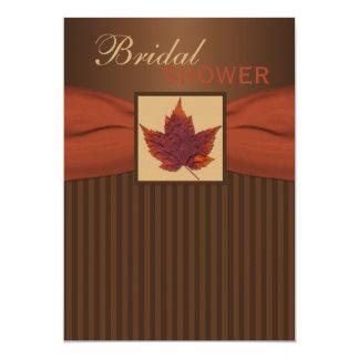 印刷されたリボンの秋の葉IIのブライダルシャワーの招待 カード