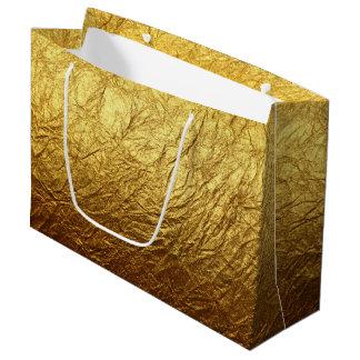 印刷された模造のな金ゴールドホイルのモダンな結婚披露宴 ラージペーパーバッグ