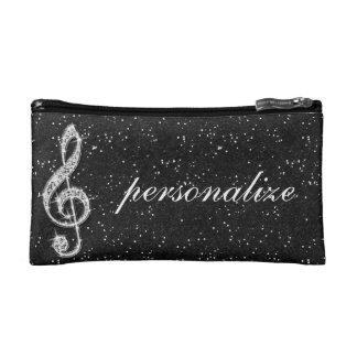 印刷された派手なきらめくダイヤモンド音楽ノート コスメティックバッグ