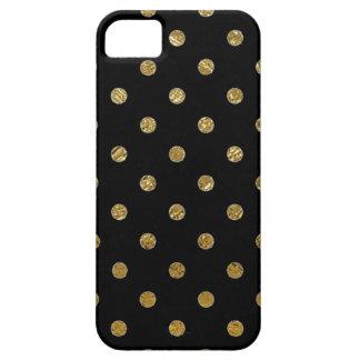 印刷された金ゴールドの水玉模様パターン iPhone SE/5/5s ケース
