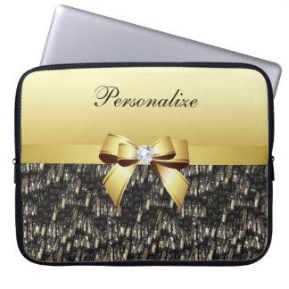 印刷された黒及び金ゴールドの水晶、弓及びダイヤモンド ラップトップスリーブ