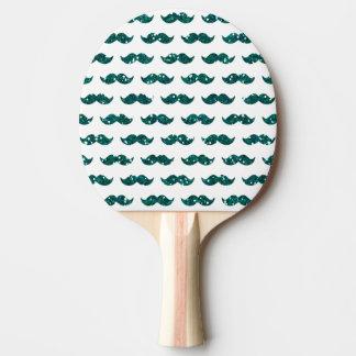 印刷されるおもしろいなターコイズのグリッターの髭パターン 卓球ラケット