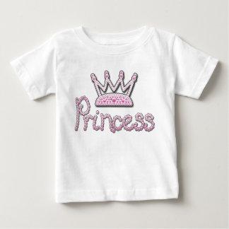 印刷されるかわいいピンクはプリンセスの王冠を真珠で飾ります ベビーTシャツ