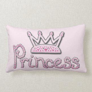 印刷されるかわいいピンクはプリンセスの王冠を真珠で飾ります ランバークッション